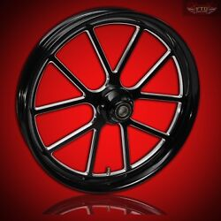 2000-2020 Harley Black Contrast 23 Inch Front Wheel And Floating Rotors Matrix