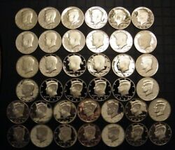 1971-s - 2009-s Proof Kennedy Half Dollar Clad Coins 38 Coins Us Proof Sets