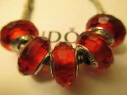 5 Pandora Silver 925 Ale Fascinating Red Murano Glass Beads Charms Valentine Red