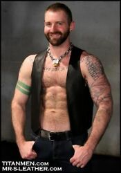 New Black Real Leather Bar Vest Naked Front Open Kick Fetish Jacket Fitted Male