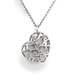 Hearts On Fire Brocade Heart Pendant - 18k White Gold - W/ 32 Adjustable Chain