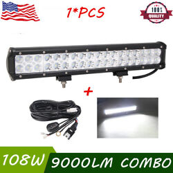 17inch 108w Led Light Bar Flood Spot Work Light Offroad Driving Ute And Wiring Kit