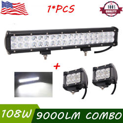 17inch 108w Led Offroad Light Bar Flood Spot Work Driving Ute And 2x18w Flood Pods