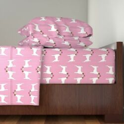 Terrier Love Dog Dogs Jack Russell Parson Cotton Sateen Sheet Set by Roostery