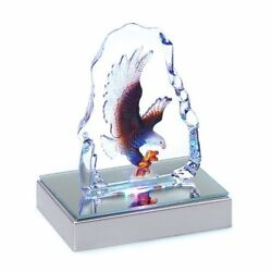 Gifts & Decor Bald Eagle Crystal Figurine Sculpture with LED Light