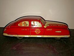 """1 Vintage/antique Marx 1950's Tin Toy Friction Car Fire Chief/department 11"""""""