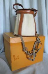 Hermes Feedbag Bucket Hand Bag Vintage Canvas Leather Original Box