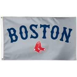 Boston Red Sox Team Logo Gray Tailgate Indoor Outdoor 3x5 Flag