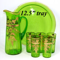 Antique Moser Green Glass 7pc Punch Or Lemonade Service Gold Enamel 12.5 Tray