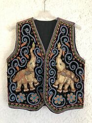 VTG Hippie Opulent Beaded Embroidered Tribal India Vest Puffed 3 D Elephants L