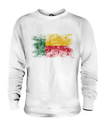 Benin Distressed Flag Unisex Sweater Top Benin Beninois Beninese Shirt Football