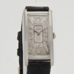 Longines 1930and039s Platinum With Diamond Numbers Ladies Fine Watch