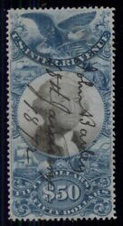 Us R131 50.00 Blue And Black, Used, Xf, Miller Certificate