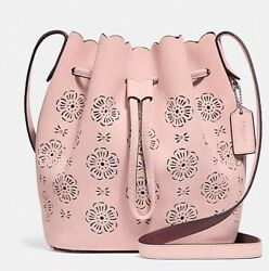 COACH Bucket Bag 18 With Cut Out Tea Rose Suede 25193 SILVERPEONY NWT