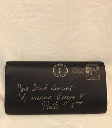 YSL Y-Mail Black Satin Clutch Evening Bag Handbag Metallic Gold Accents