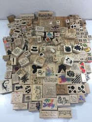 Huge Mixed Lot Of 160 Vintage Rubber Stamps Wooden Mounted Psx Dots Stampinandrsquo Up