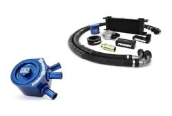 Perrin Oil Cooler Kit And Grimmspeed Air/oil Separator Blue For Impreza 02-05 Wrx