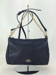 COACH clutch bag leather NVY plain from japan (14285