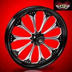 2008-2019 Harley Black Contrast 26 Inch Front Wheel Floating Rotors Wizard