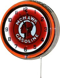 18 Retro Red Double Neon Mohawk Gasoline Gas Oil Tin Garage Sign Wall Clock New