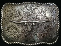 Silver Finish - Western - Embossed - Longhorn - Rancher - Texas - Free Shipping