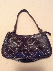 NORDSTROM STUDDED BLACK LEATHER SMMED HOBO BAG IN EXCELLENT CONDITION