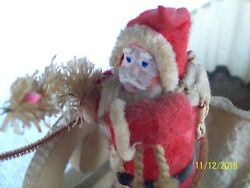 Vintage 1920and039s Primitive Santa Belsnickle With Sleigh And Deer Nice