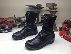 Vintage 1967 Gicb Military Usa Black Leather Lace Up Engineer Boss Boots Size 7w