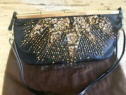 AUTH BOTTEGA VENETA Gold Sequins Black Moire Silk Evening bag Clutch