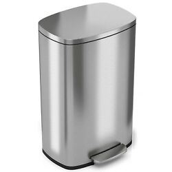 Step On Trash Can 14 gal Stainless Steel Slow Shut Oval Flat Cover Silver Indoor