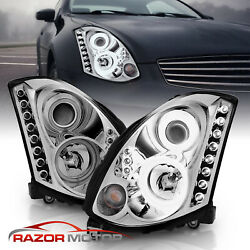 For 2003-2007 Replacement Chrome Projector Headlight Pair For Infiniti G35 Coupe