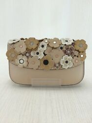 COACH 58181 clutch bag leather BEG from japan (18780