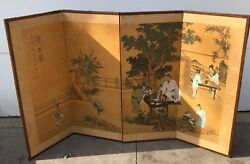 Vintage Table Top Room Divider Japanese Asian Outdoor Eating Scene Hand Painted