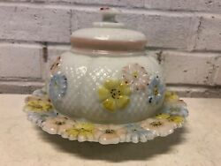 Antique Eapg Possibly Consolidated Milk Glass Cosmos Covered Butter Dish