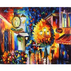 Leonid Afremovand039s - Cafe In The Old World - Original Oil On Canvas