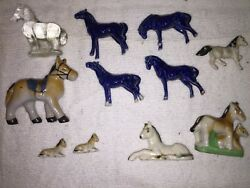 BisquePorcelainGlass Horse Figurines Marked Japan and Germany Free Shipping
