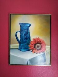 Blue Vase And Sunflower Original Oil Hand Painted Still Life Art By Jv 16x 20in.