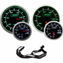 Prosport 52mm Universal Electric Green/white Gauge Kit Oil And Fuel Pressure