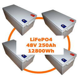 250 ah 48V LiFePO4 (4*12V 250Ah) Battery Lithium Iron Phosphate 12kW/h with BMS