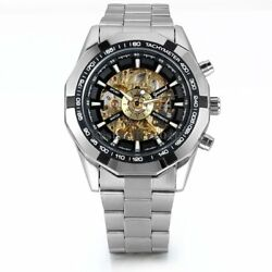 Skeleton Dial Automatic Mechanical Watch Menand039s Stainless Steel Band Wrist Watch