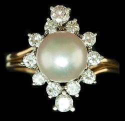 Vintage 14kt Ring Pearl And Diamond Yellow Gold 1.30ctw Diamonds 9mm Natural Pearl