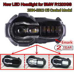 BLK LED Headlight Angel Eye Complete Headlamp for 04-12 BMW R1200GS Oil Cooled