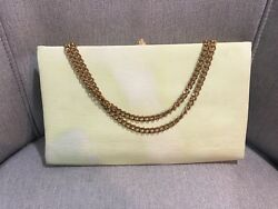 Vintage Green Fabric Clutch Holiday Evening Bag Purse wGold Clasp and Chain