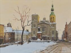 Ross Huggins Oil Painting Twilight Notre Dame Quebec 18x24 Canadian Listed