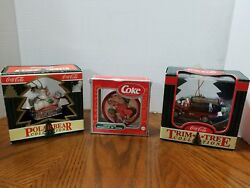 Lot Of 3 Collectable Coca Cola Christmas Tree Ornaments Coke Holiday