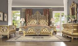5 PC BELLAGIO FORMAL BEDROOM SET CAL KING BED DRESSER MIRROR STOOL 2 NIGHT STAND