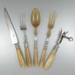 Antique French Horn And Silver Carving Set Gigot Holder And Salad Set 5 Pcs