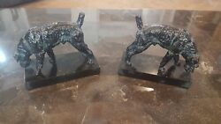 Vintage Bookends Dog TerrierAiredaleFoxWelsh. Black with some patina