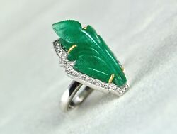 Natural Colombian Emerald Carved White Diamond 18k White Gold Ladies Ring