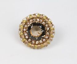 Antique Pin And Pendant 14k Smoky Topaz And Natural Pearls